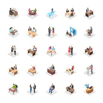 Icone piane di attività di ufficio