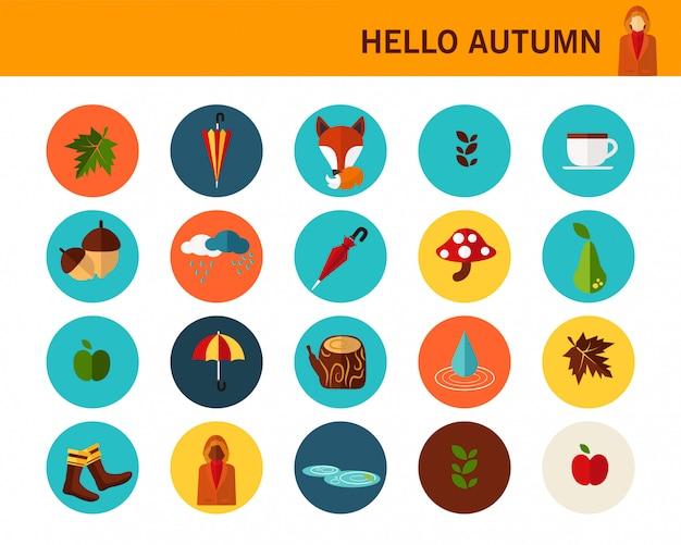 Icone piane di autunno felice concetto.