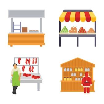 Icone piane di bancarelle di cibo