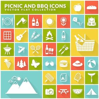 Icone piane di barbecue e pic-nic sui pulsanti quadrati colorati.