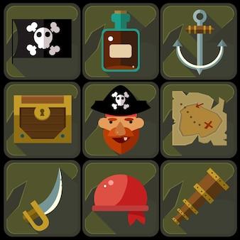 Icone piane di colore messe e pirata delle illustrazioni