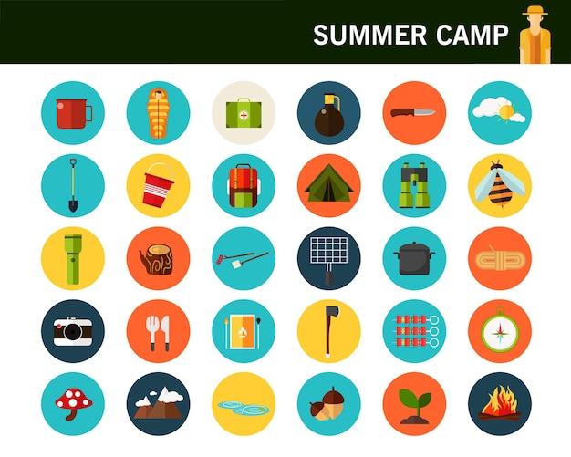 Icone piane di concetto campeggio estate.