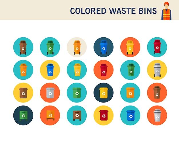 Icone piane di concetto colorato dei bidoni della spazzatura.