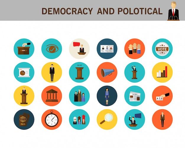 Icone piane di concetto di democrazia e politica.