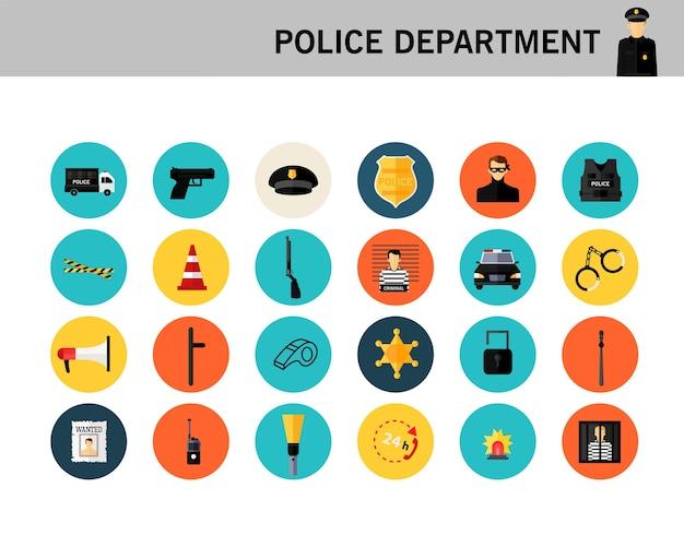 Icone piane di concetto di dipartimento di polizia.