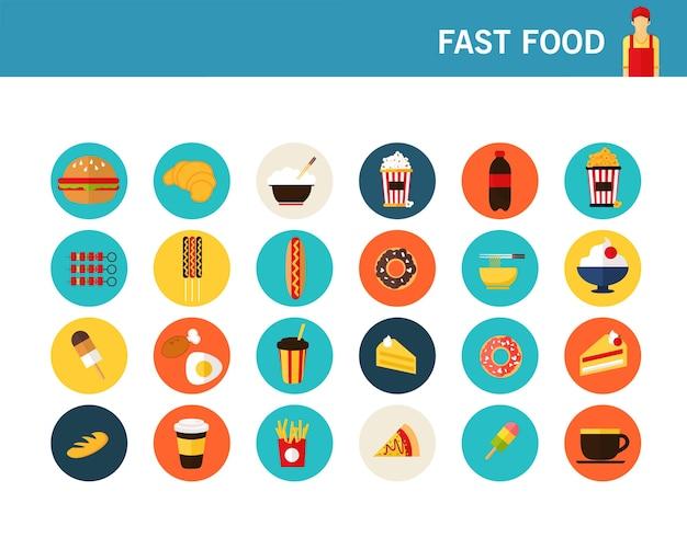 Icone piane di concetto di fast food.