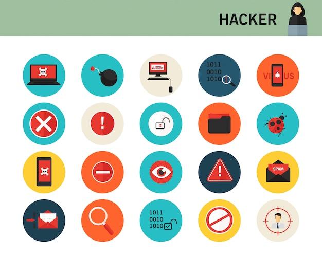 Icone piane di concetto di hacker