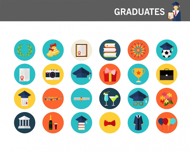 Icone piane di concetto di laureati.