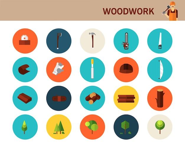 Icone piane di concetto di lavorazione del legno.