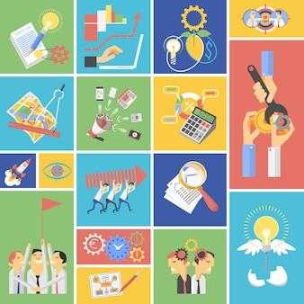 Icone piane di concetto di lavoro di squadra di affari messe