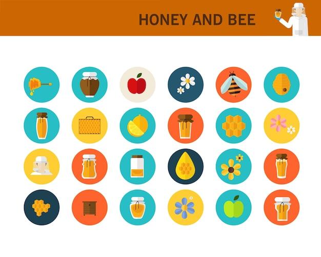 Icone piane di concetto di miele e ape.