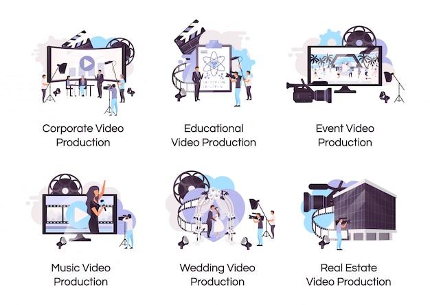 Icone piane di concetto di produzione video messe.