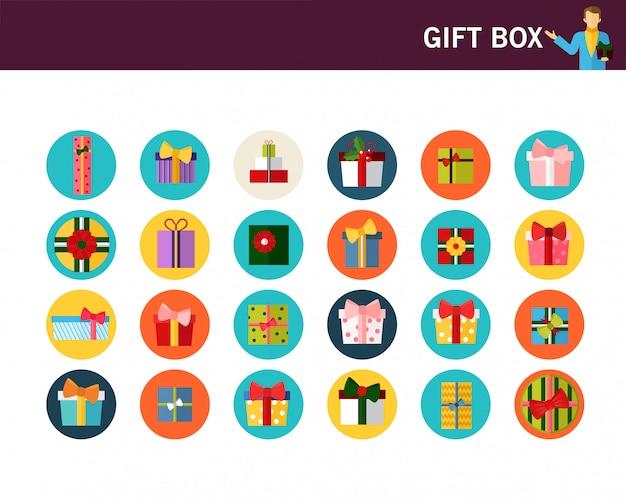 Icone piane di concetto di scatola regalo.