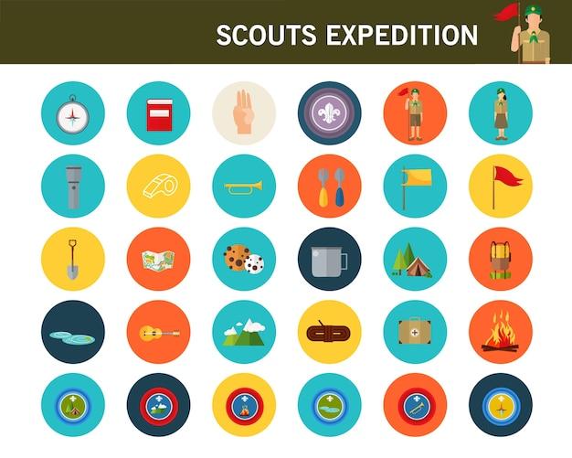 Icone piane di concetto di spedizione di scout.