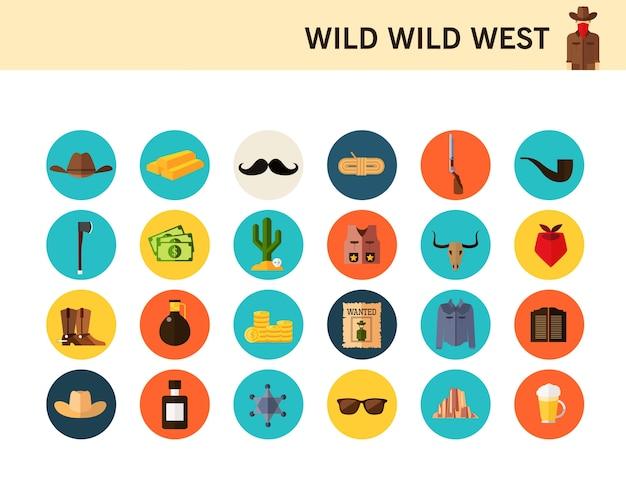 Icone piane di concetto selvaggio selvaggio west.