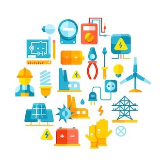 Icone piane di energia elettrica