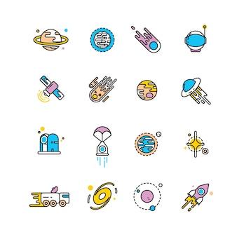 Icone piane di esplorazione dell'universo con pianeti e razzi