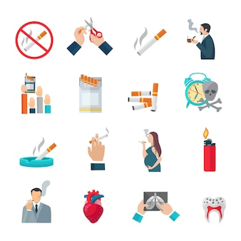 Icone piane di fumo impostate