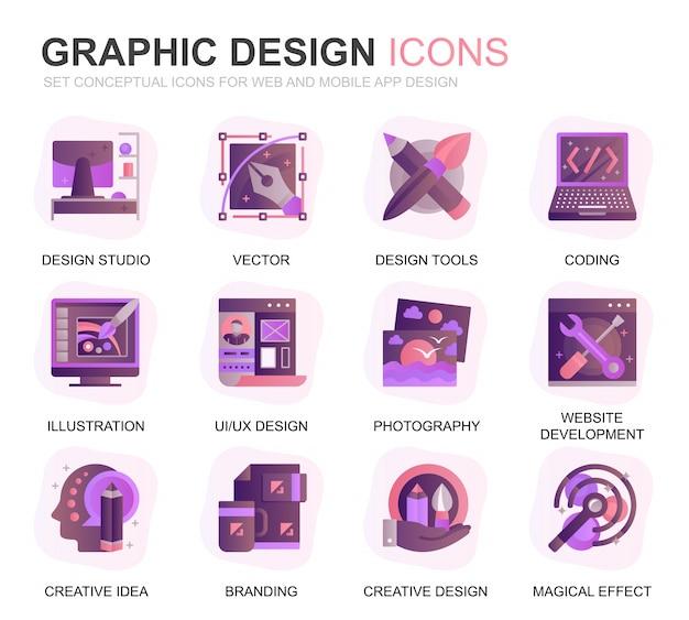 Icone piane di gradiente di progettazione e di web design moderno