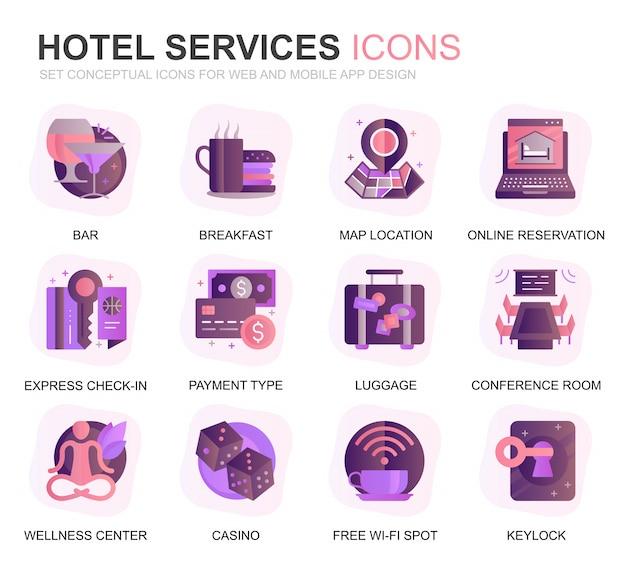 Icone piane di gradiente di servizio moderno dell'hotel stabilito di servizio