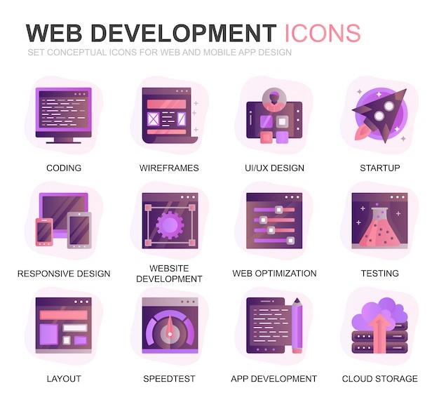 Icone piane di gradiente di sviluppo e di sviluppo web moderno di insieme