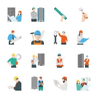 Icone piane di ingegneria civile e costruzione