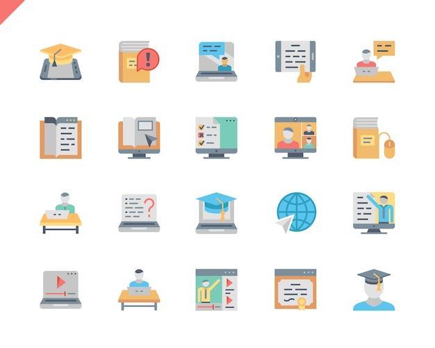 Icone piane di istruzione online messe semplici