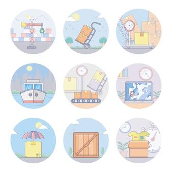 Icone piane di logistica