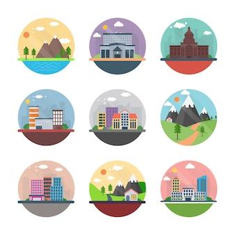 Icone piane di paesaggio urbano e campagna