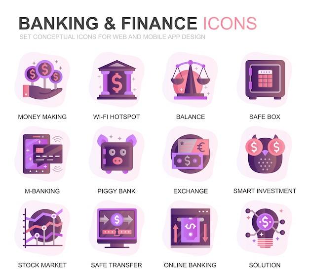 Icone piane di pendenza e di finanza moderne dell'insieme di attività bancarie