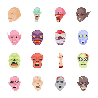 Icone piane di personaggi di halloween