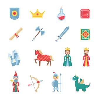 Icone piane di simboli medievali dei giochi messe