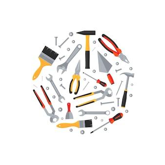 Icone piane di strumenti di riparazione e costruzione