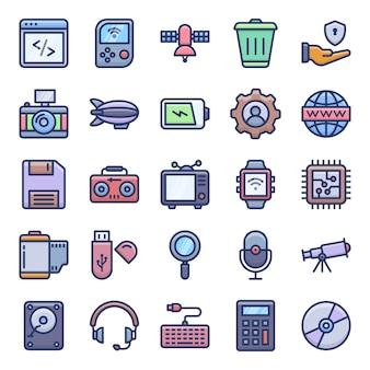 Icone piane di tecnologia