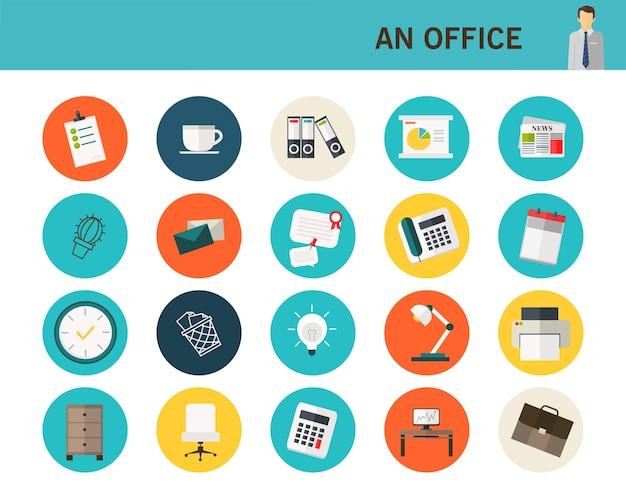 Icone piane di un concetto di ufficio.