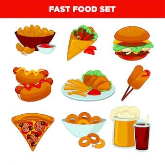 Icone piane di vettore di pasto di fast food impostate