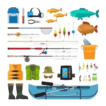 Icone piane di vettore di pesca isolate su fondo bianco