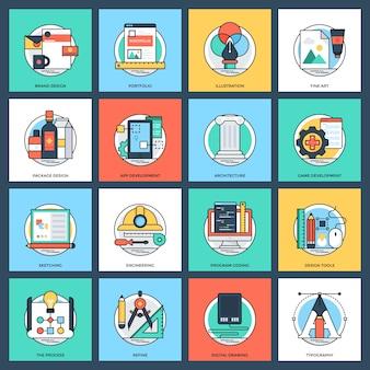 Icone piane di vettore di progettazione e sviluppo