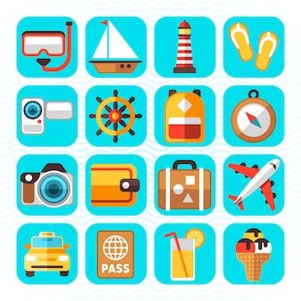 Icone piane di vettore di turismo e vacanze di viaggio. vacanze rilassanti, nuotare in barca a vela e immersioni illustrati