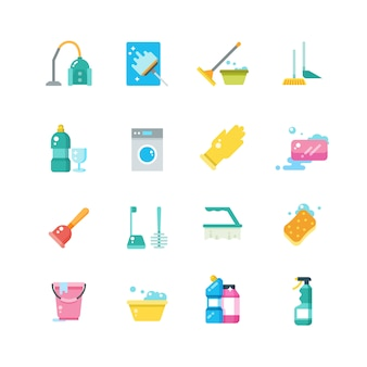Icone piane di vettore isolato di servizi domestici e degli strumenti domestici di pulizia