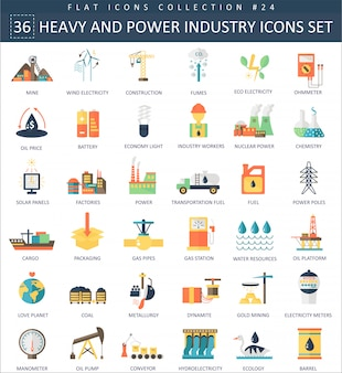 Icone piane di vettore pesante e potere industria