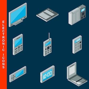Icone piane isometriche 3d dell'elettronica messe
