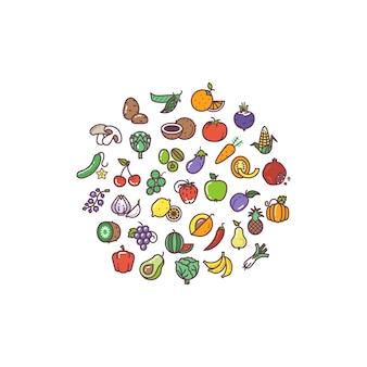 Icone piane organiche delle verdure e della frutta nella progettazione del cerchio