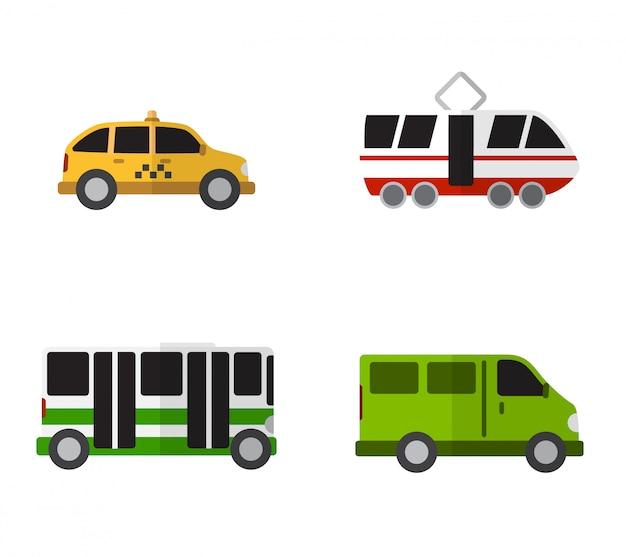 Icone piane semplici di trasporto pubblico