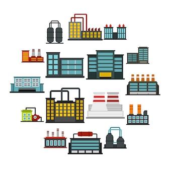 Icone piane stabilite della fabbrica del fabbricato industriale