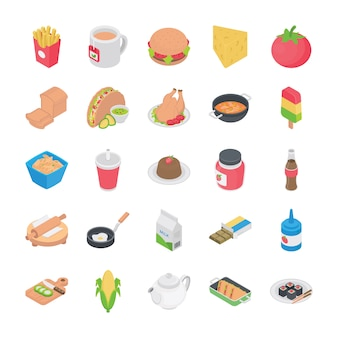 Icone piatte cucine