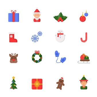 Icone piatte di natale. simboli della celebrazione di inverno stivali di santa candele candele campane pupazzo di neve e albero di natale isolato