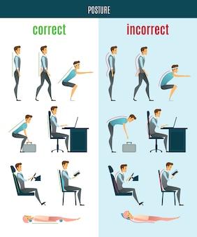 Icone piatte di postura corrette e scorrette