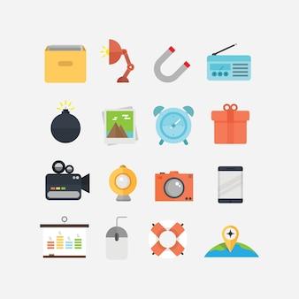 Icone piatte per il design ui