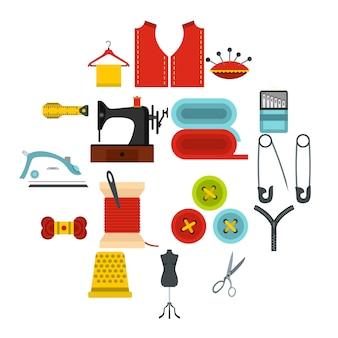 Icone piatte set da cucire